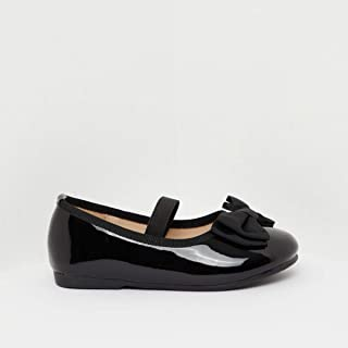 Shoexpress Solid Round Toe Ballerina Shoes with Bow Accent