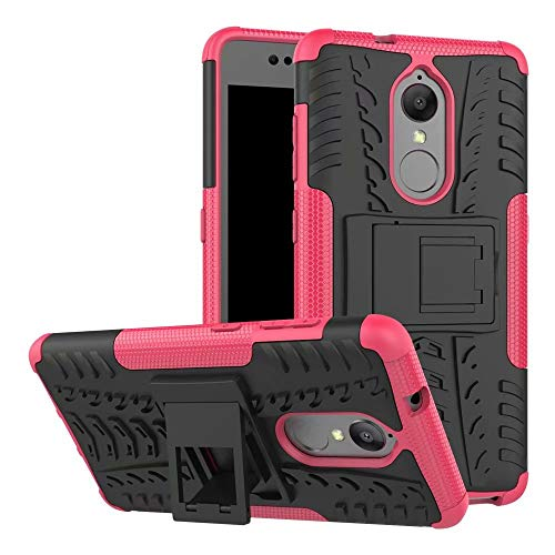 Smfu Case for Lenovo Vibe P2 Case Hybrid Rugged Heavy Case Built-in Kickstand,with Screen Protector 2 Pack 360 Degree Bumper Dual Layer Rugged Full-Body Shockproof Non-Slip Case(Rose Red)