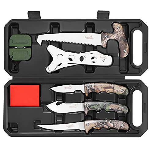 Hunting Knife 8-Piece Field Dressing Kit Butcher Game Processing Set with Storage Case for Deer Hunting, Camping