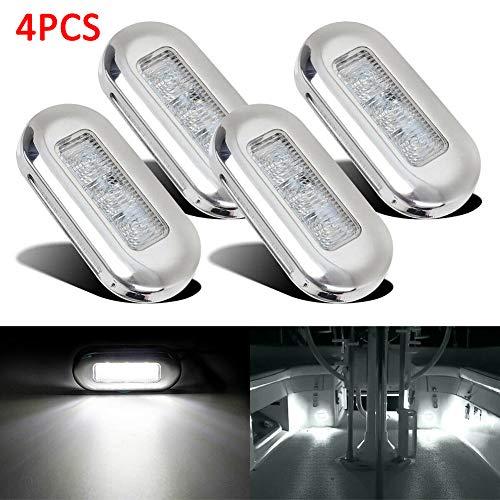 ulofpc 4 luci di cortesia a LED blu, oblunge, per barche e scale, 12 V, impermeabili, per camper, yacht, giardino