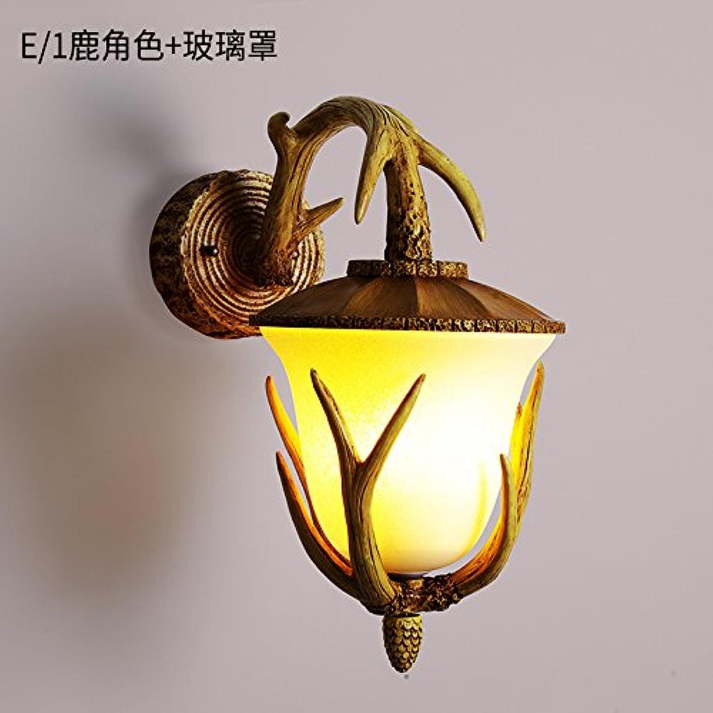 StiefelU LED Wandleuchte nach oben und unten Wandleuchten Antikes bett Geweih wand Lichter aus in Wohnzimmer, Schlafzimmer, Hyun-Hirschkopf, E 1 Rehe Rolle + Glasabdeckung