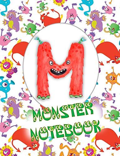 M Monster Notebook: Kids Monogrammed Journal and Doodle Book
