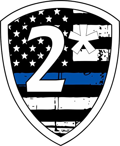 Evan Decals Thin Blue Line Tattered Flag 2 asterisk k9 - Decal Vinyl Sticker 4'