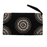 NOVICA Beaded clutch, Circle of Beauty in Black'