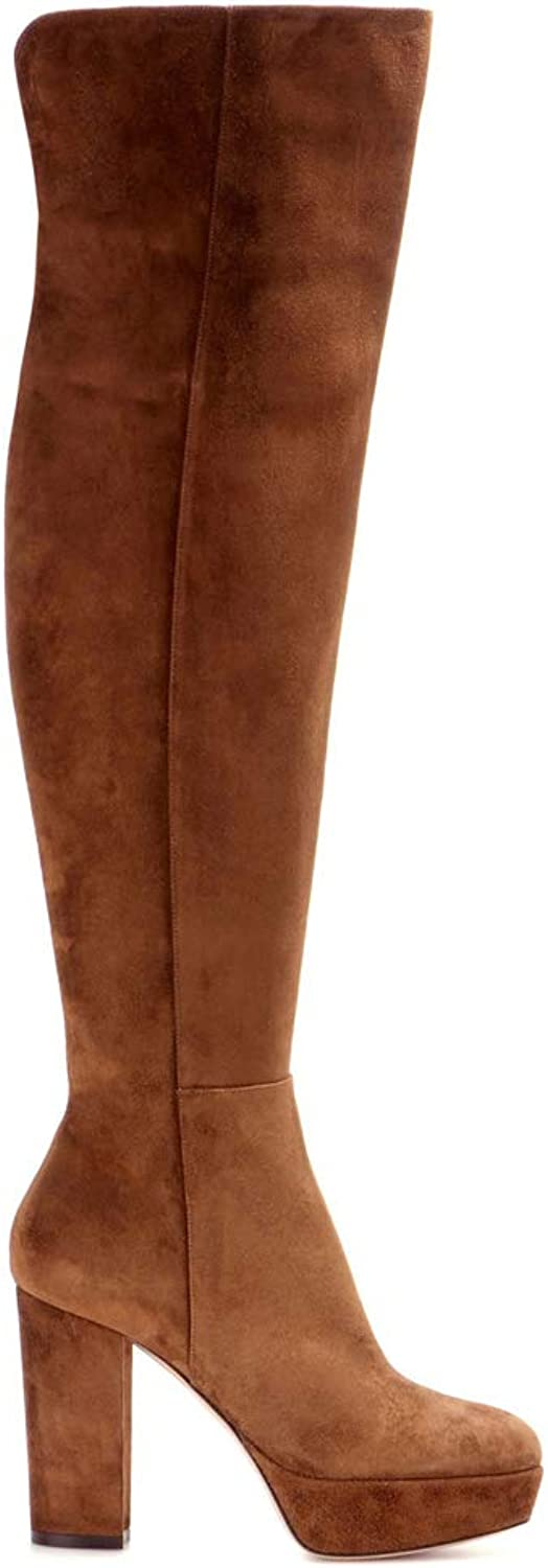 Long Boots Women, Large Size Plus Velvet Brown Suede 'Waterproof Platform' Thick High Heel Over The Knee Boots