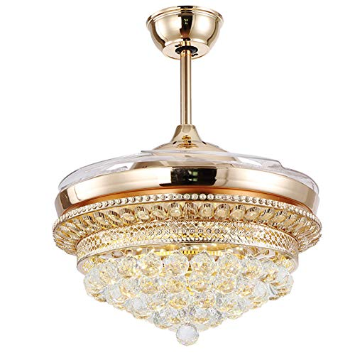 """42"""" Modern Crystal Ceiling Fan Chandelier, LED 3 Color Remote Control Retractable Invisible Blades 3 Speeds Indoor Ceiling Light Kits with Fans for Decorate Living Room Dining Room(Gold)"""