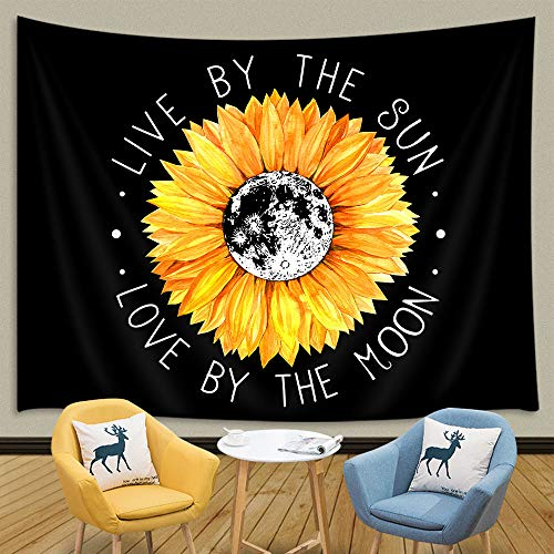 JAWO Sunflower Tapestry, Sunflower Live by The Sun Love by The Moon Tapestry, Inspirational Quote Boho Style Tapestry Wall Hanging, Yellow Tapestry for Bedroom Living Room Dorm 71X60Inches