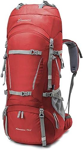 YiWu Sacs à Dos de randonnée Sacs à Dos en Plein Air épaule Hommes Et Femmes Campant sur Le Voyage à Pied Sac à Dos Ultralight Haute Capacité (Couleur   Wine rouge, Taille   70L+10L)