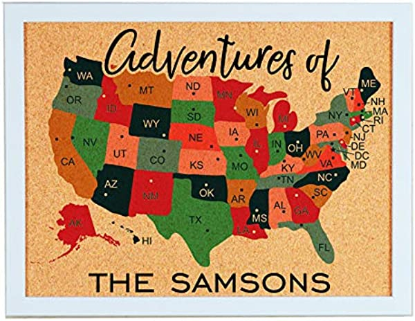 Lindsey Lou Patterns Custom Cork Board Travel Map Of United States Navy Text