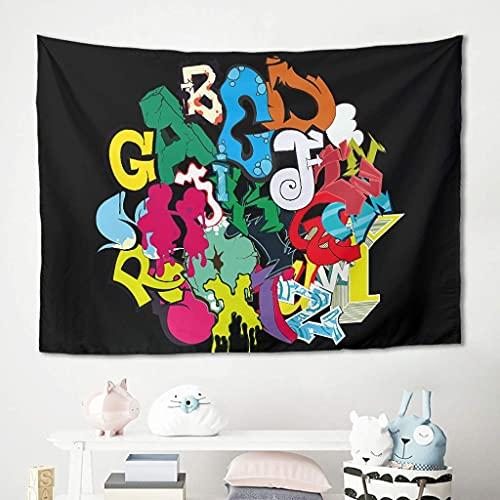 Tapiz para colgar en la pared, diseño de letras de ABC, manta de playa, manta de meditación, yoga, suave tela de microfibra, poliéster, blanco, 150 x 130 cm