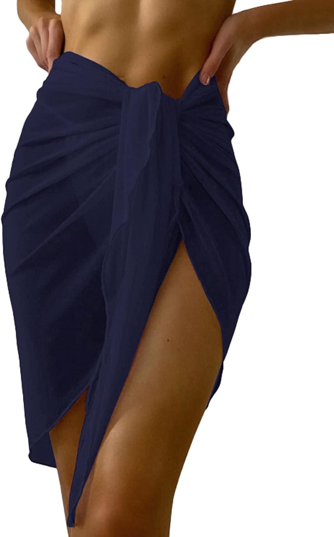Ekouaer Women Sarong Chiffon Beach Wrap Lace Swimsuit Cover Up Crochet Bikini Wrap Skirt Solid & Print S-XXL