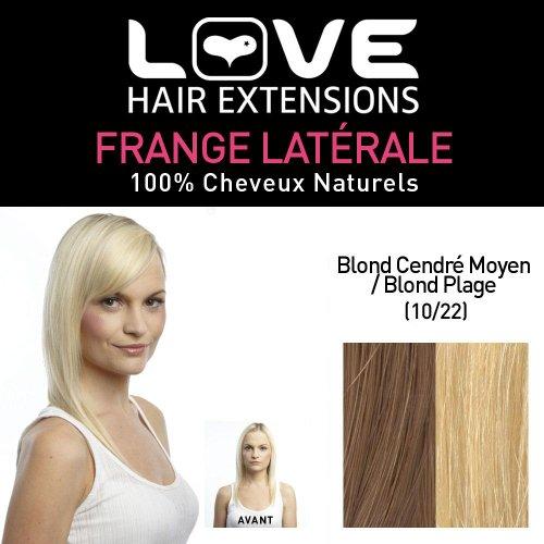 Love Hair Extensions - LHE/FRA1/QFC/CISF/10/22 - 100 % Cheveux Naturels - Frange Latérale - Couleur 10/22 - Blond Cendre Moyen / Blond Plage