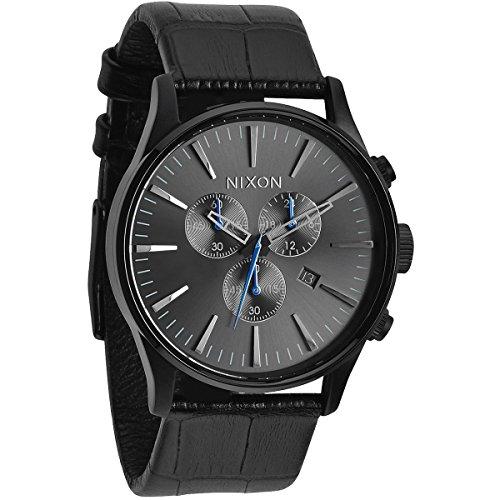 Nixon Armbanduhr Sentry Chrono Leder Black Gator