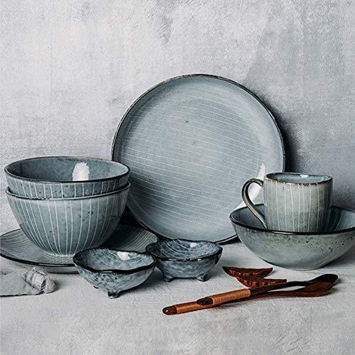 WDSWBEH Vajilla Completa Moderna De Porcelana Irregular De Gris-Vintage|Platos Llanos, Platos Hondos, Platos Postre,13 Pieces(Service for 2
