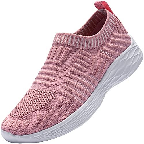 MHXDU Mujer Zapatillas de Deportivos Zapatos de Running para Gimnasia Ligero Anti Estático Transpirable Correr Fitness Atlético Sneakers Rayas de Tela Fácil de Usar (Rosa,38 EU)