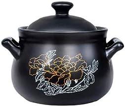 BAPYZ Ceramic Casserole Dish, Health Soup Stew Pot Pan Household, Heat Resistant Flame Soup Pot Casserole Black