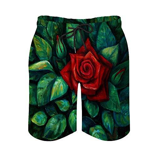 MayBlosom Pantalones cortos de playa para hombre, flor roja con hoja de secado rápido, traje de baño casual hawaiano, trajes de baño con elástico