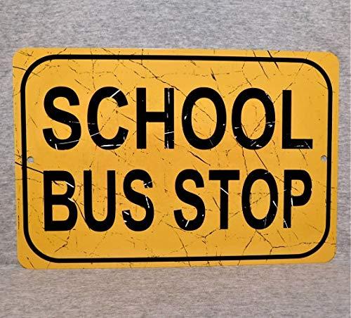 Sp567encer metalen bord school bus stop bestuurder straat replica transport gele kinderen bussen aluminium
