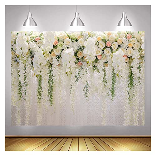 White Rose Floral Theme Photo Background 7x5ft Bridal Shower Wedding Flowers Photography Backdrops Baby Shower Girl Birthday Party Dessert Cake Table Decor Photo Booth Studio Props Vinyl
