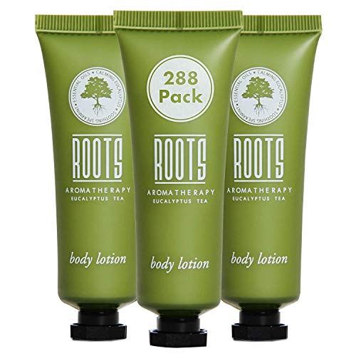ROOTS AROMATHERAPY Body Lotion 1floz/30mL Travel Size Hotel Bulk Pack (Eucalyptus Tea fragrance) Toiletries for Bathroom, Guests, Hotels, Motels, and Lodging (288 pack)