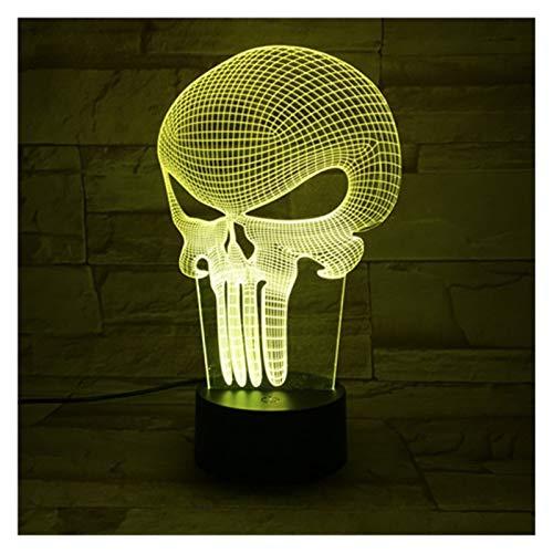 3D Magic LED Linterna de luz de la noche, la luz de la Infancia, la luz del sueño 7-Color Touch Button 16 colores, escritorio del USB cable de la lámpara decorativa, Esqueleto (Color : A)