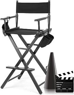 Zerone Silla de director, profesional plegable, silla de director de artista, silla de director, telescópica negra, silla de maquillaje portátil con bolsas laterales