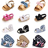 YiQiJeJe Baby Girls Anti-Slip Cotton Summer Sandals Bow Premium Soft Sole Slippers Princess Dress Shoes Outdoor Infant Toddler First Walkers (2-Hot Pink, 3_months)