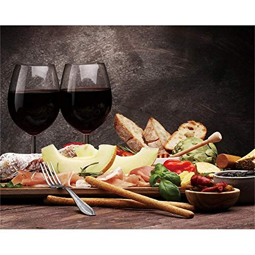 Canvas kalligrafie schilderij wijnbeker brood levensmiddelen poster en afdrukken muurkunst foto's woonkamer keuken wooncultuur 60x80cmx1 niet ingelijst