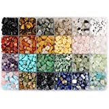 Potosala 1440 Pcs 24 Colors Natural Gemstone Chip Beads Irregular Crushed Crystal Pieces 5-7mm Stone Bead Drilled Beads for Balance Jewelry Making Life Tree