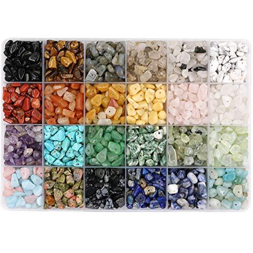 Potosala 1440 cuentas de 24 colores de chips de piedras preciosas naturales piezas de cristal aplastado irregulares de 5 a 7 mm para joyas de equilibrio que hacen árbol de la