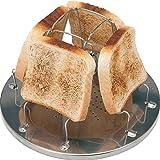 Tostadora portátil de camping de acero inoxidable con 4 rebanadas de propano y clip de pan plegable