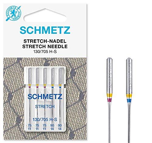 SCHMETZ Nähmaschinennadeln: 5 Stretch-Nadeln, Nadeldicke 75/11-90/14, Sortiert, 130/705 H-S, auf jeder gängigen Haushaltsnähmaschine einsetzbar, geeignet für die Verarbeitung von elastischen Stoffen