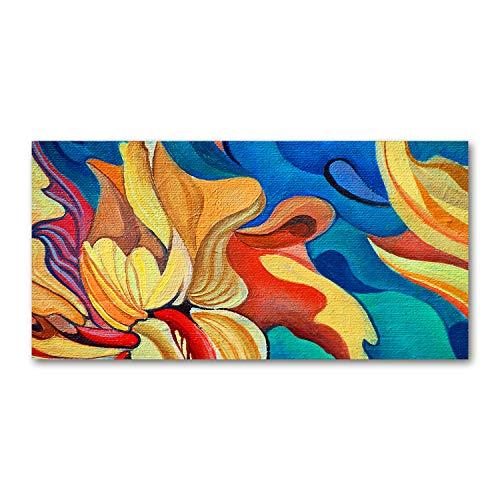 Tulup - Quadro su Vetro - Arte Digitale - Stampa su vetro - Quadro in Vetro - artistica - Immagine decorativo - Cucina e Soggiorno - 120x60 cm - Arte: moderna e classica - Multicolore - Fiore astratto
