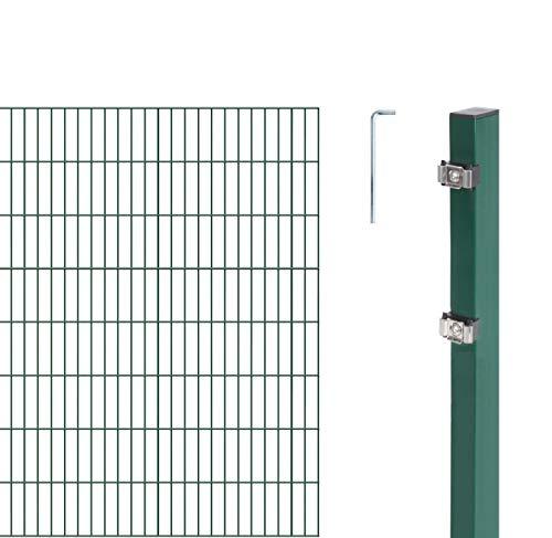 GAH-Alberts 643836 Doppelstabmattenzaun als  12 tlg. Zaun-Komplettset | verschiedene Längen und Höhen - wahlweise in verschiedenen Farben | kunststoffbeschichtet, grün | Höhe 140 cm | Länge 10 m
