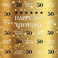 Qinunipoto 妻50歳の誕生日背景布 写真撮影用 を祝う黄金色の写真の背景母50歳の誕生日おめでとう背景 装飾用 無反射布 写真を撮るお祝いパーティーポートレート写真スタジオブース背景小道具ビニール 1.8m x 1.8m