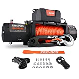 ZESUPER 9500 lb. Load Capacity Electric Winch,12V Electric Winch with Hawse Fairlead, Waterproof IP67 Winch with Wireless Handheld Remotes and Wired Handle Synthetic Rope