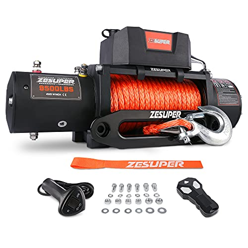 ZESUPER 9500 lb. Load Capacity Electric Winch Kit,Waterproof IP67 Electric Winch with Hawse Fairlead, with Both Wireless Handheld Remote and Corded Control Recovery (9500-Rope)