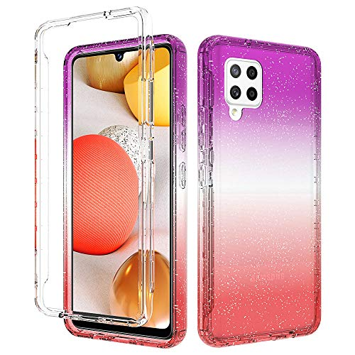 iRunzo Funda 2 en 1 para Samsung Galaxy A42 5G Carcasa de TPU suave que cambia de color + PC Bumper Protección completa de 360° (rojo/lila)