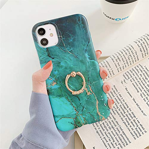 Bakicey iPhone 12 Pro Max Hulle iPhone 12 Pro Max Marmor Handyhulle mit 360 Grad Ring Stander Ultra Dunn Soft Silikon TPU Bumper Stosfest Case Anti kratzt Schutzhulle fur iPhone 12 Pro Max 02