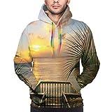 Just life Sweat-Shirt à Capuche pour Homme, mer Méditerranée Horizon de la terrasse en Bois Balcon Clôtures Photo de la Vie de Vacances, Impression 3D à Manches Longues Sweat-Shirt décontracté Tops