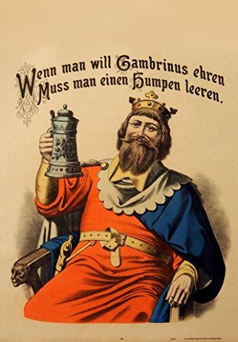 World of Art Vintage Beers, Weine und Spirituosen Gambrinus Bier. Wenn Sie wollen grambrinus Ehre dann Cheers und Leer. Deutschland ca. 1880250GSM, Hochglanz, A3, vervielfältigtes Poster