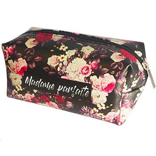 Les Trésors De Lily [P9679] - Trousse à Maquillage 'Flowers Messages' Noir Liberty (Madame Parfaite) - 16.5x9x8 cm