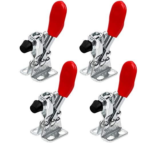 Nuluxi Schnellspanner Kniehebelspanner Vertikaler Knebelklemme Waagrechtspanne Handwerkzeuge Horizontal Toggle Clamp Metall Spannverschluss Rutscht Nicht Horizontal Schnellspanner und Robust(4 Stück)