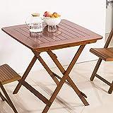 折りたたみビュッフェテーブル、木製ガーデン家具セット木製ガーデンテーブルと椅子折り畳み式のダイニング家具、テーブルのガーデンパティオ屋外での使用をダイニング、竹 (色 : ブラウン, サイズ : 80x80x75cm)