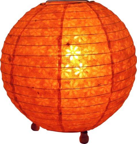 Guru-Shop Corona Round Reispapier Stehlampe 40 cm, Orange, Lokta-Papier, Farbe: Orange, Deckenleuchte Kugelförmig