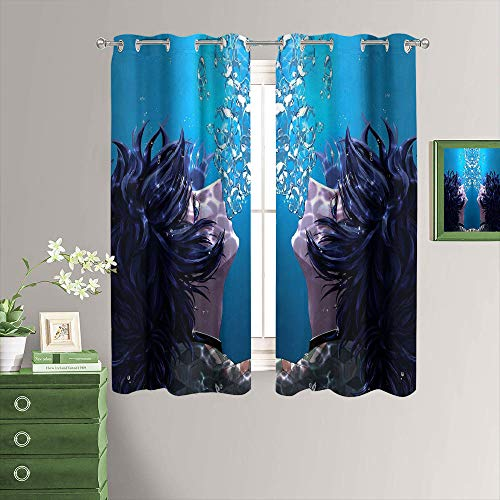 MRFSY Demon Slayer Tomioka Giyuu - Cortinas personalizadas para puerta de patio, cortina extra ancha para villa/salón/salón, 106 x 107 cm