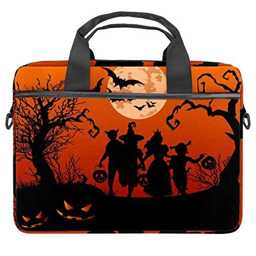 Siluetas de Halloween de niños Truco o Tratamiento de la caja del ordenador portátil de la lona del patrón del maletín de la manga del bolso del hombro del ordenador portátil de 13.5-14.5 pulgadas