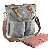 Wickeltasche mit Wickelunterlage – ELLA AMIE – Wickeltasche – Mama-Tasche für das Krankenhaus – Große Reisetasche – Grau