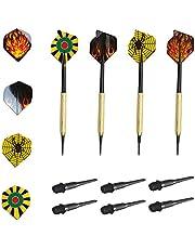 DMFSHl Soft Tip Darts Set, 12 STKS Soft Tip Darts, Plastic Dart Tips met 36 STKS Zwart Plastic Soft Dart Tips, voor Elektronische Dartboards, Veilig voor Volwassenen en Kinderen