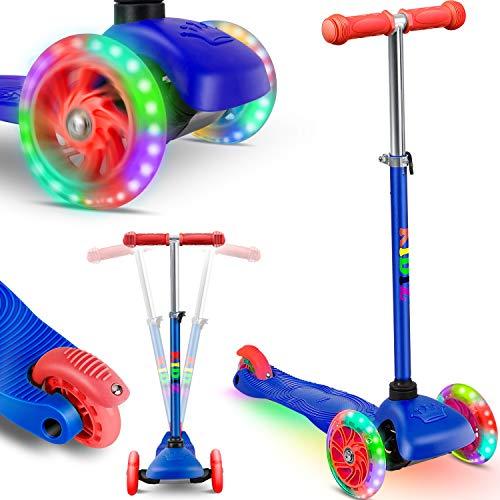 KIDIZ® Roller Kinder Scooter Pro1 Dreiradscooter mit PU LED Leuchtenden Räder Kinderroller Tret-Roller höhenverstellbarer cityroller Kinderscooter für Kinder Jungen Mädchen ab 3-12 Jahre, Blau